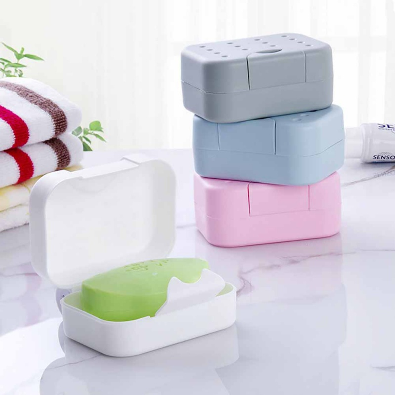 Plastic Soap Dish Box Case Holder Container Home Bathroom Shower Bar Travel US
